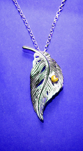 Angel Feather Pendant in Sterling Silver with Gold Heart by Elena Brennan