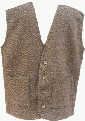Tweed Waistcoat, Brown Herringbone by Kerry Woollen Mills