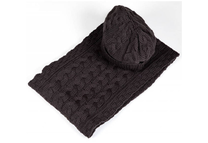 Aran Cable-knit Scarf and Hat Set -Grey
