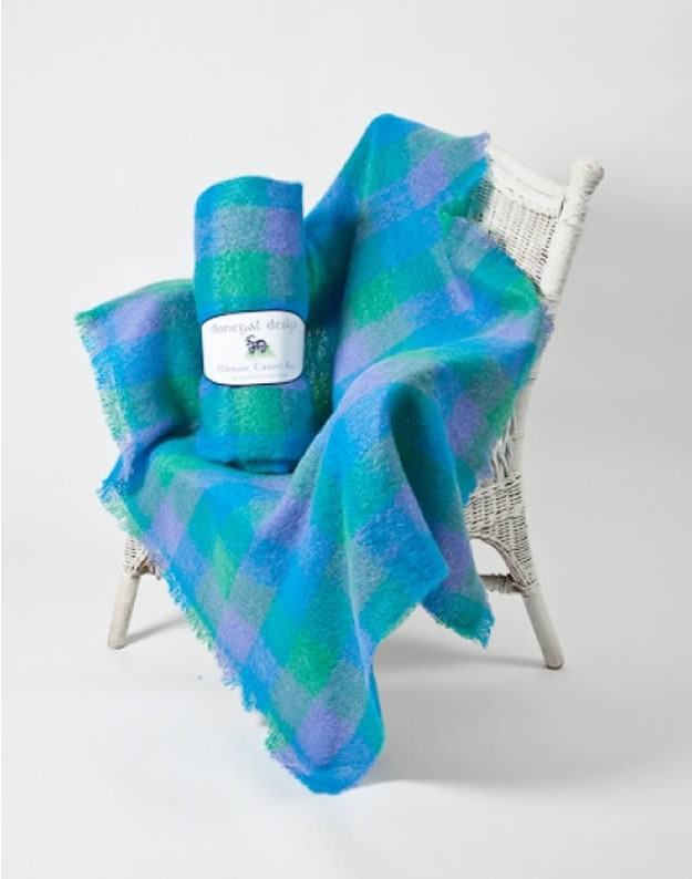 Mohair Throw in Green, Blue and Purple Pattern