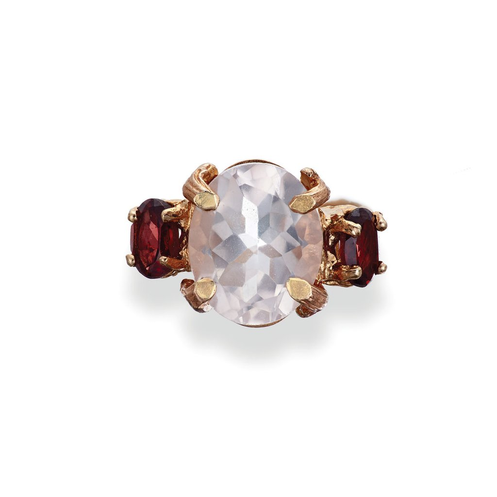 Dew Drop In The Wild Ring - Rose Quartz & Garnet in Rose Gold by Chupi