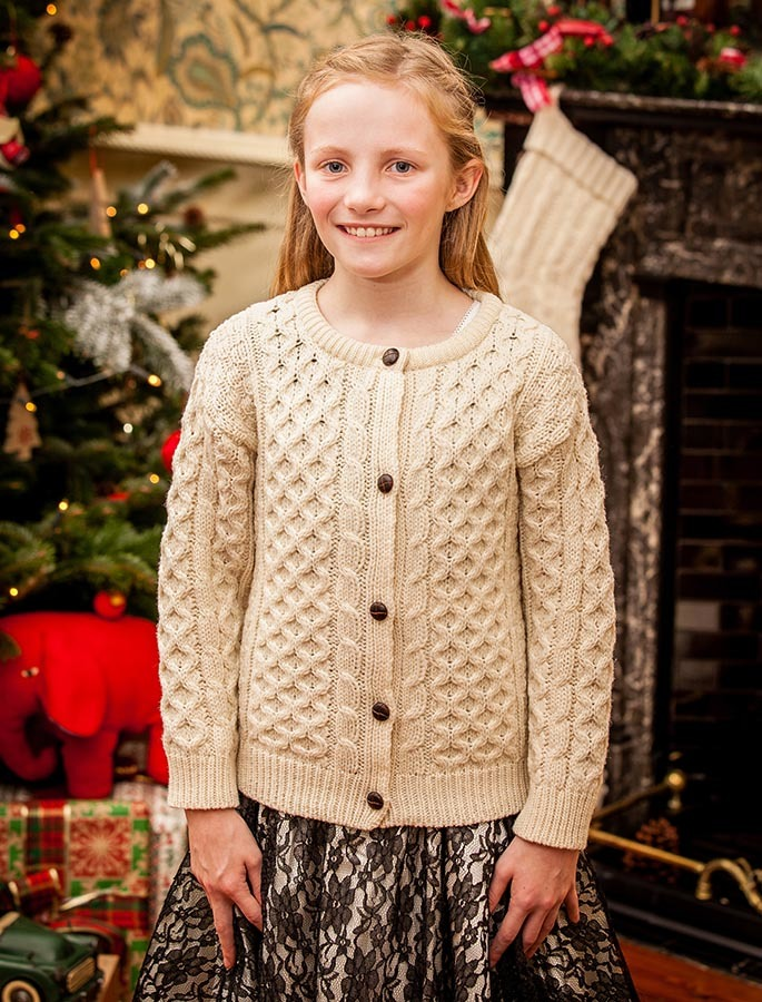Children's Traditional Cardigan made with soft Merino Wool by Glenaran
