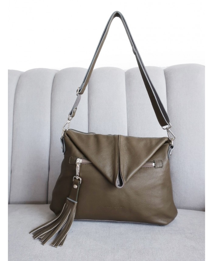 Aine Bag in Olive and Silver by Ana Faye