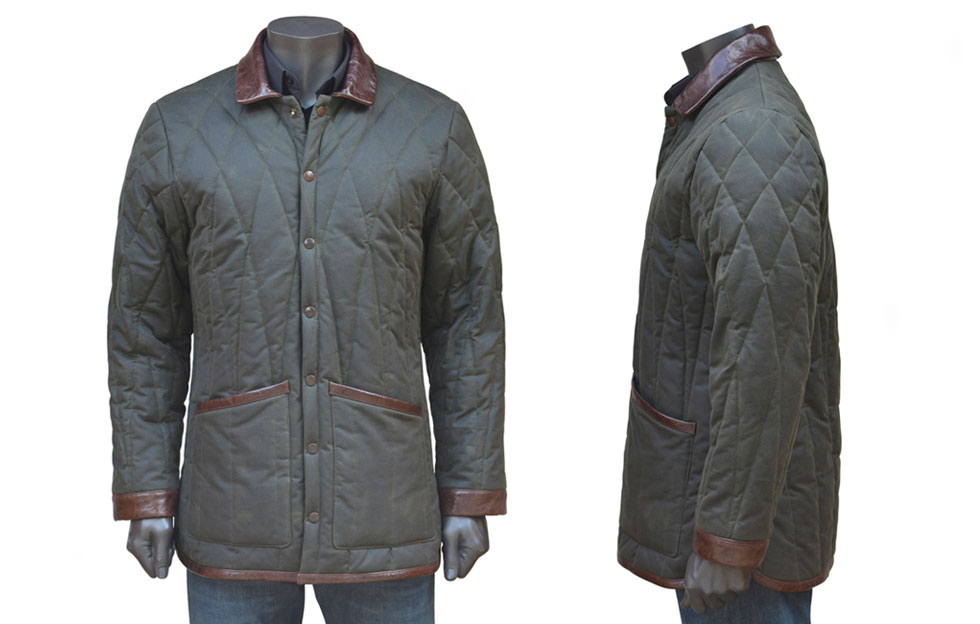 Wax Coat with Leather Trim by De Bruir