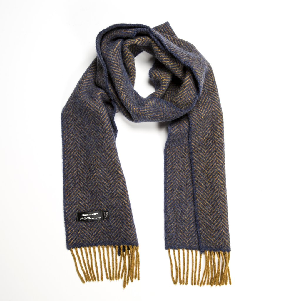 95% Merino 5% Cashmere Scarf - Navy With Mustard Trim