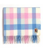 Foxford Woollen Mills Blue & Pink Check Baby Blanket. Product thumbnail image