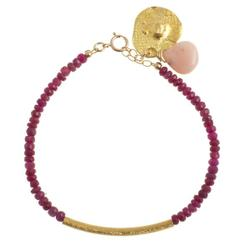 Ruby Pink Opal Drop Stacking Bracelet. Product thumbnail image