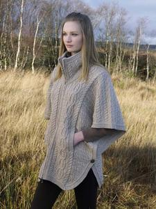 Stylish Aran Cape in Merino Wool. Product thumbnail image