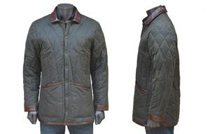 Wax Coat with Leather Trim by De Bruir. Product thumbnail image